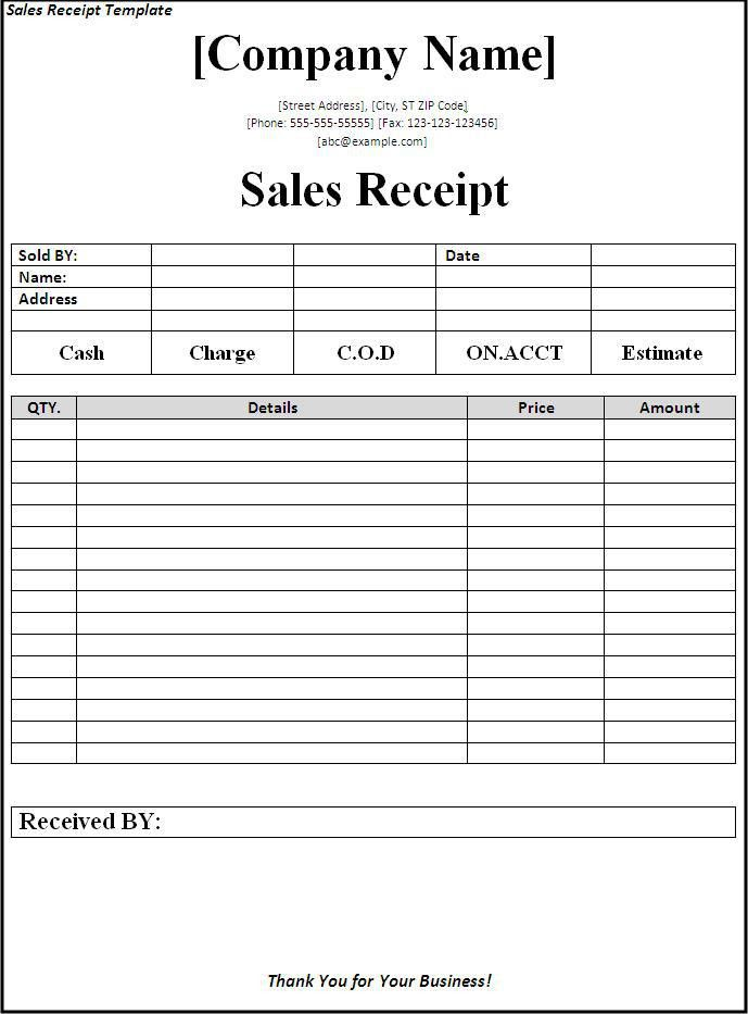 Sales Receipt Template Download Page | Word Excel Formats