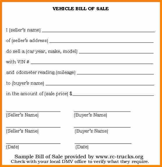 5+ basic bill of sale for car | mileage tracker form