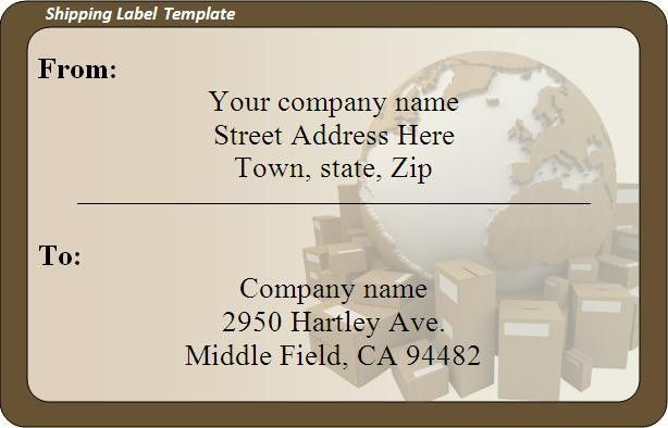 Shipping Label Template - Word Excel Formats
