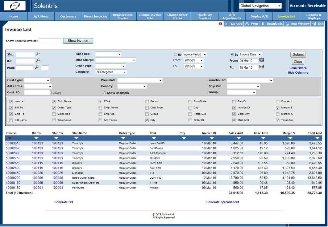 Analytical Reporting – Solentris Business Software