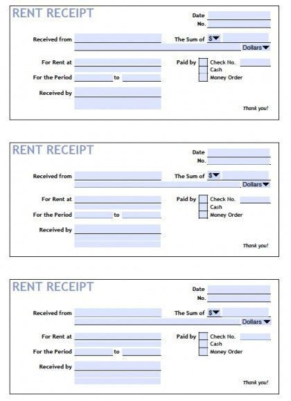 Download Printable Rent Receipt Templates | PDF | Word | Excel ...