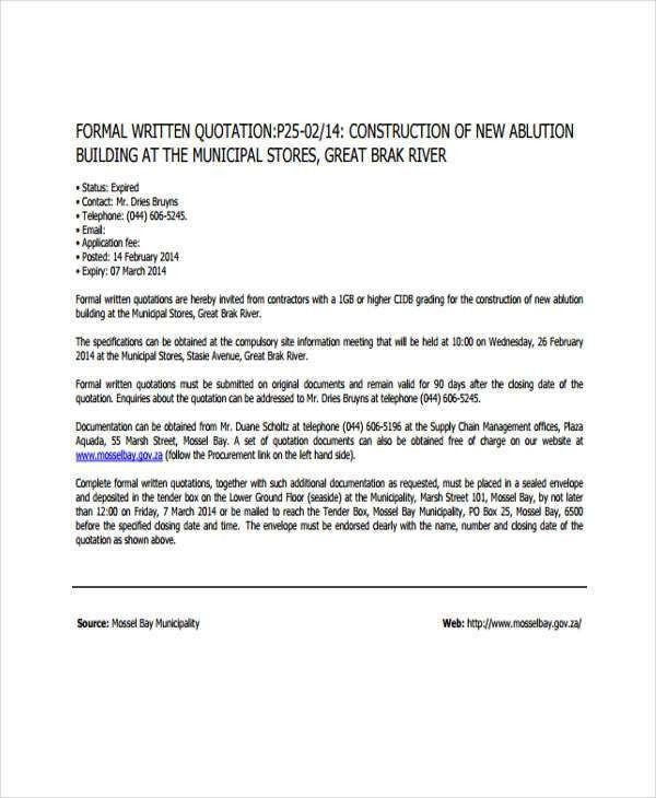 Quotation Format. Philmech Gov Ph Details File Format 28+ ...
