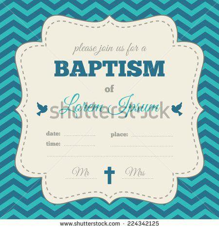 Baptism Invitation Template Blue Cream Colors Stock Vector ...