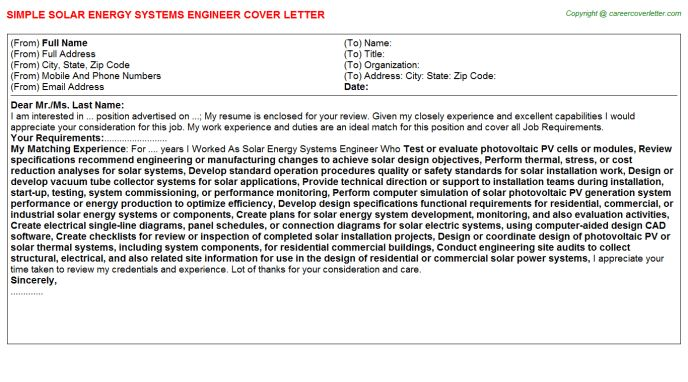 Solar Energy Systems Engineer Cover Letter