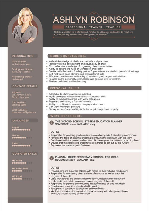 Free Premium Professional Resume (CV) Design Template with Best ...