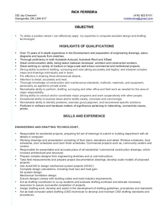 Drafting Technologist RF Resume