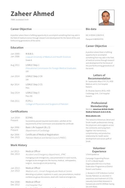 Medical Resume samples - VisualCV resume samples database