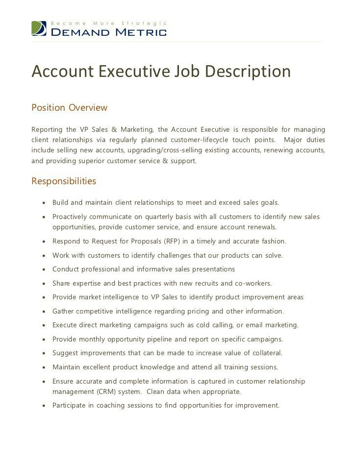 Account Manager Job Description. Job Description For Accounts .