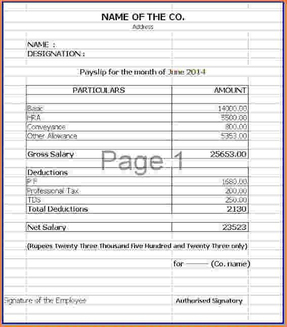 7+ salary slip format in excel free download | Simple salary slip