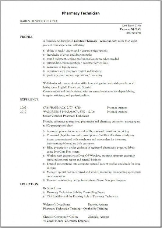 Sample Resume Entry Level Pharmacy Technician | Resume Template ...