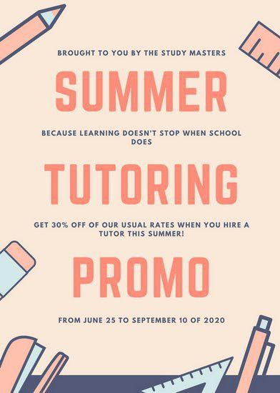 Orange, Blue and Cream Summer Tutor Flyer - Templates by Canva