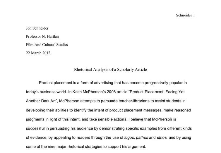 Rhetorical analysis essay mla format---
