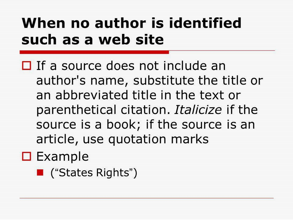 MLA Citations Format of Paper Parenthetical Citations Works Cited ...
