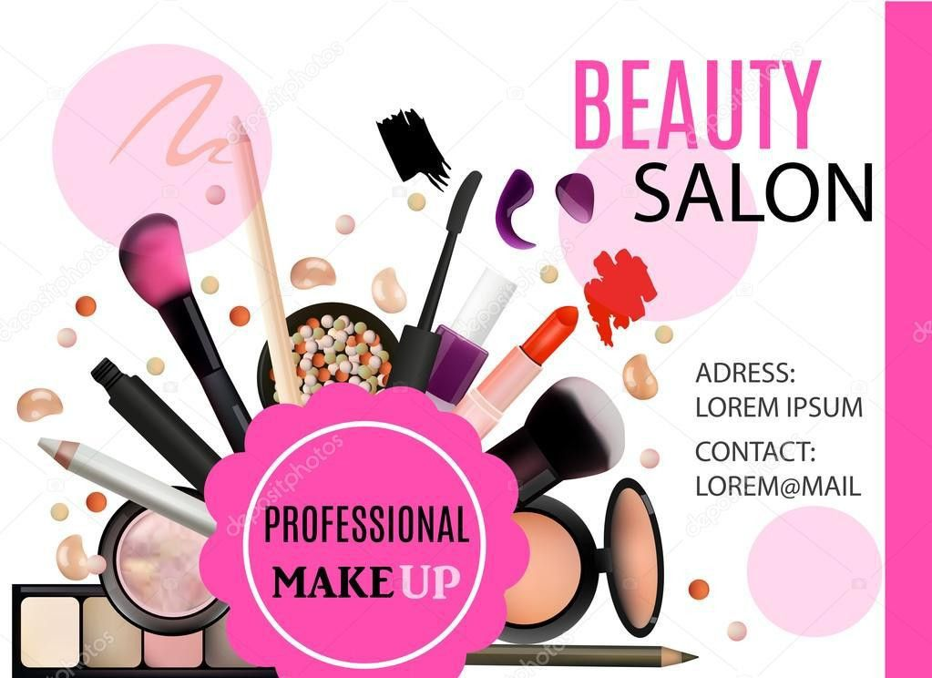 Beauty Salon Design. Cosmetic Products, Professional Make Up, Care ...