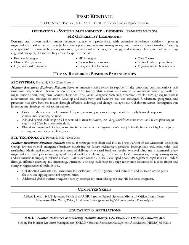 Free Human Resources Business Partner Resume Example