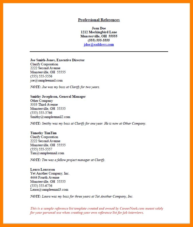 7+ professional reference list | billing clerk resume