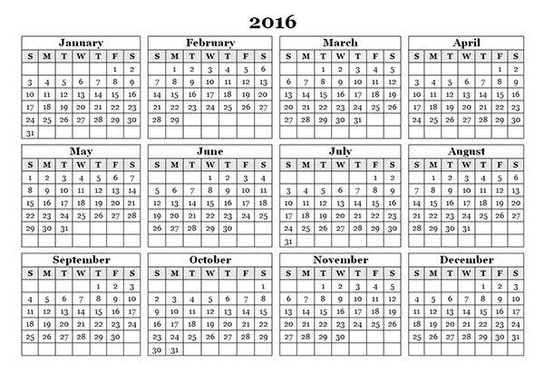 2016 Blank Calendar Monthly