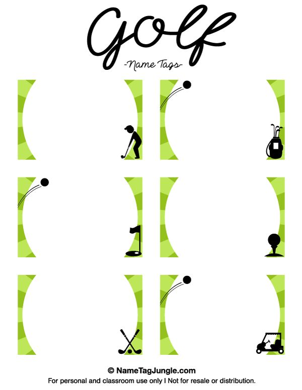 Free printable golf name tags. The template can also be used for ...