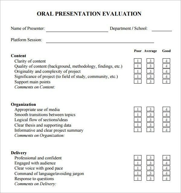 presentation evaluation sheet template sample presentation ...