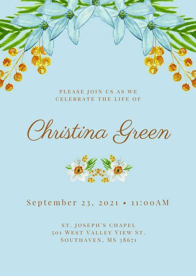 Blue Minimalist Floral Funeral Invitation - Templates by Canva