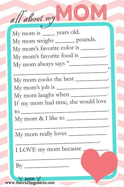 Mother's Day Questionnaire & Free Printable Download - The ...