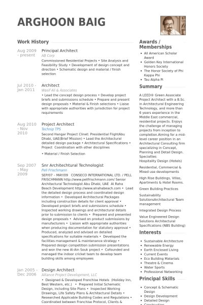 Principal Architect Resume samples - VisualCV resume samples database