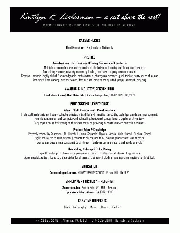 Hairstylist resume or cosmetologist resume