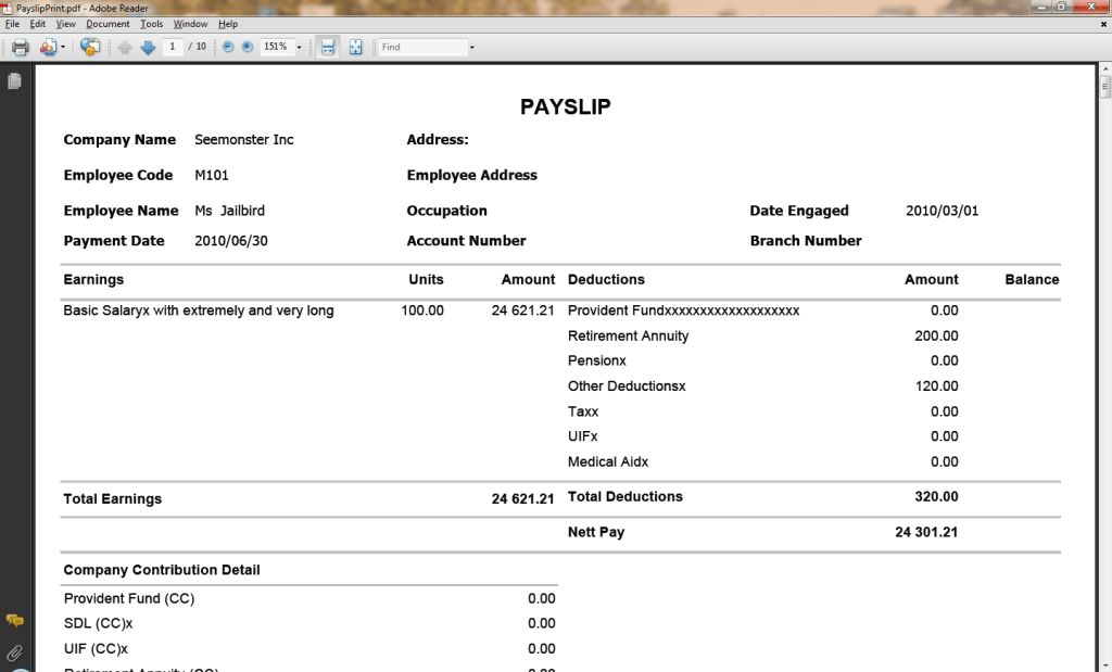 Brilliant Sample of Payslip Template in PDF Format with Company ...