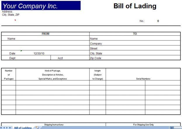 Bill of Lading TemplateBill of Lading Form : Selimtd