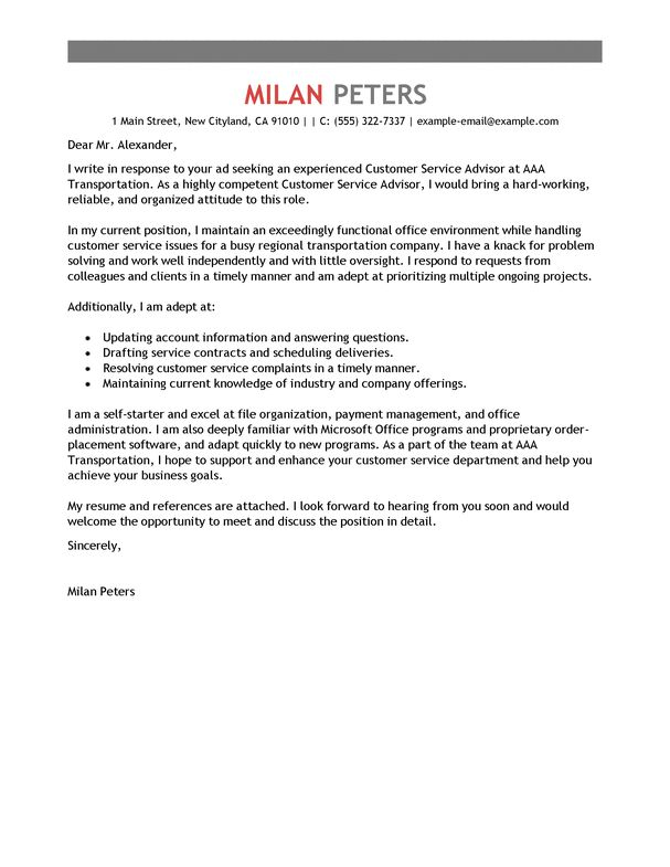 Best Transportation Customer Service Advisor Cover Letter Examples ...