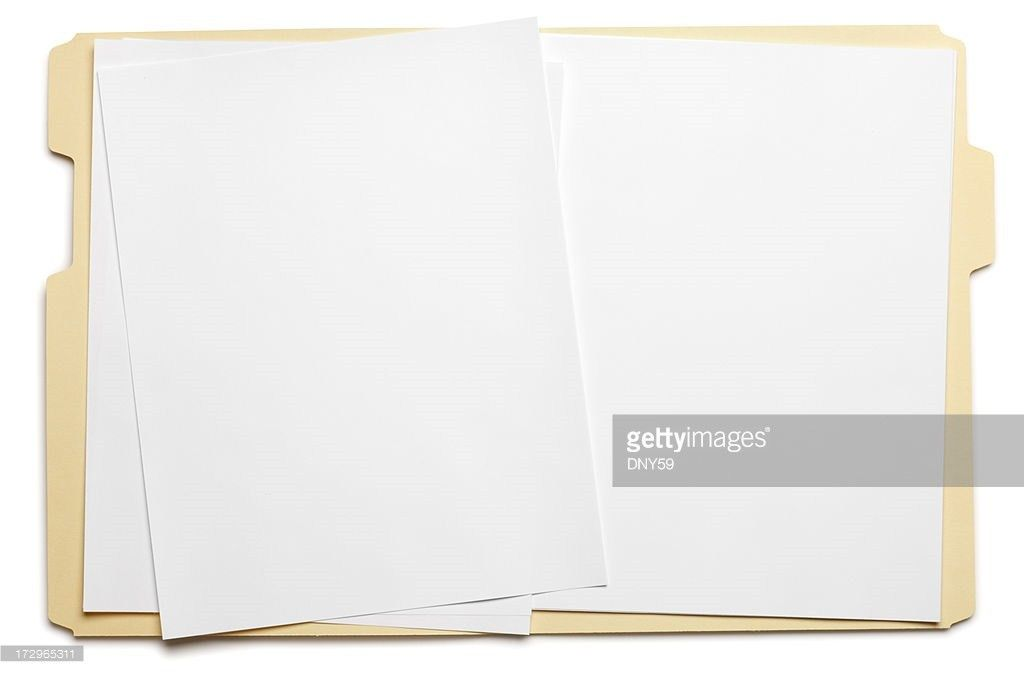 Blank Paper In An Open File Folder On White Background Stock Photo ...