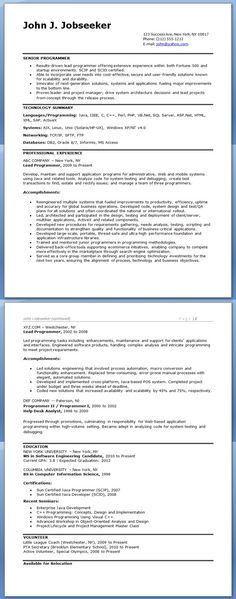 Sample Computer Programmer Resume (Entry-Level) | Creative Resume ...