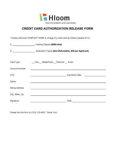 Free Hotel Credit Card Authorization Forms - PDF | Word | eForms ...