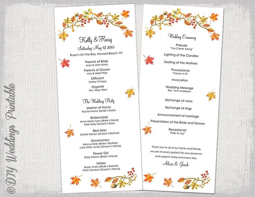 order of service wedding template civil ceremony - Google Search ...