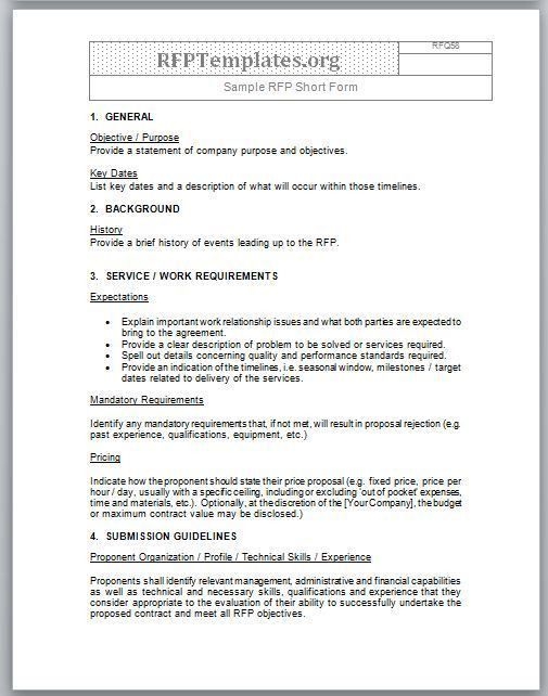 Short Form RFP Sample - RFP Templates - RFP Templates | Free ...