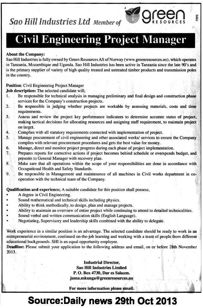 Civil Engineering Project Manager | TAYOA Employment Portal