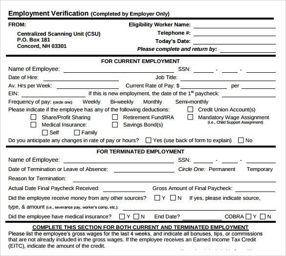 Employment Verification Form - 8+ Download Documents In PDF