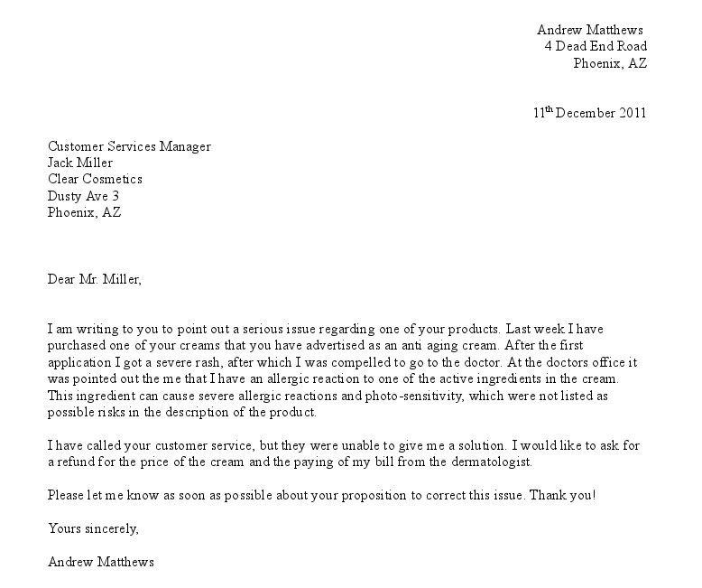 Example Of Complaint Letter | custom-college-papers