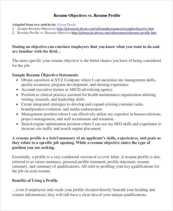 Sample Resume Profiles How To Write A Professional Profile Resume - Sample profile statement for resume