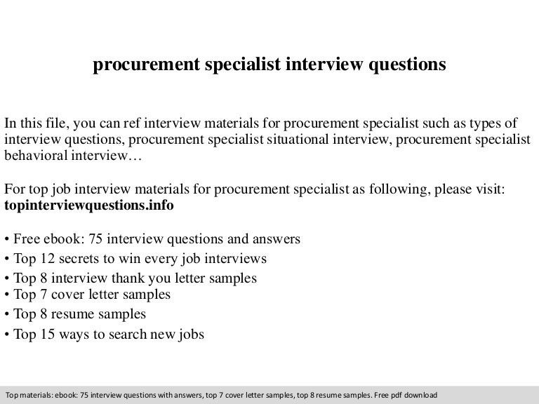 procurement specialist interview questions - Procurement Resume Sample