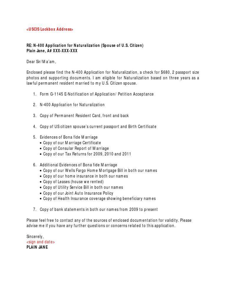 Impressive N400 Cover Letter 2 N - CV Resume Ideas