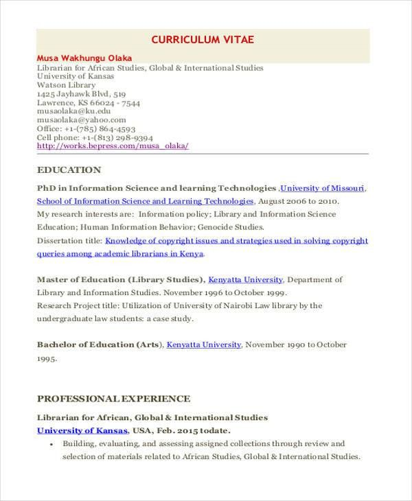 9+ Librarian Resume Templates - Free Sample, Example Format ...