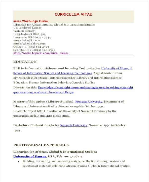 sample law librarian resume librarian cv librarian resume