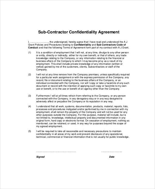 Sample Contractor Confidentiality Agreement - 7+ Documents in PDF ...