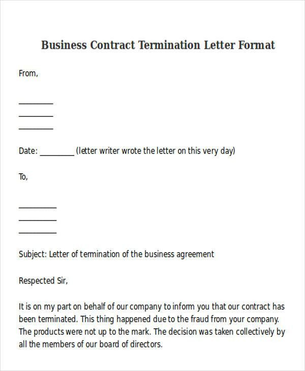 Editable Letter Sample For Cancellation Of Business Contract ...