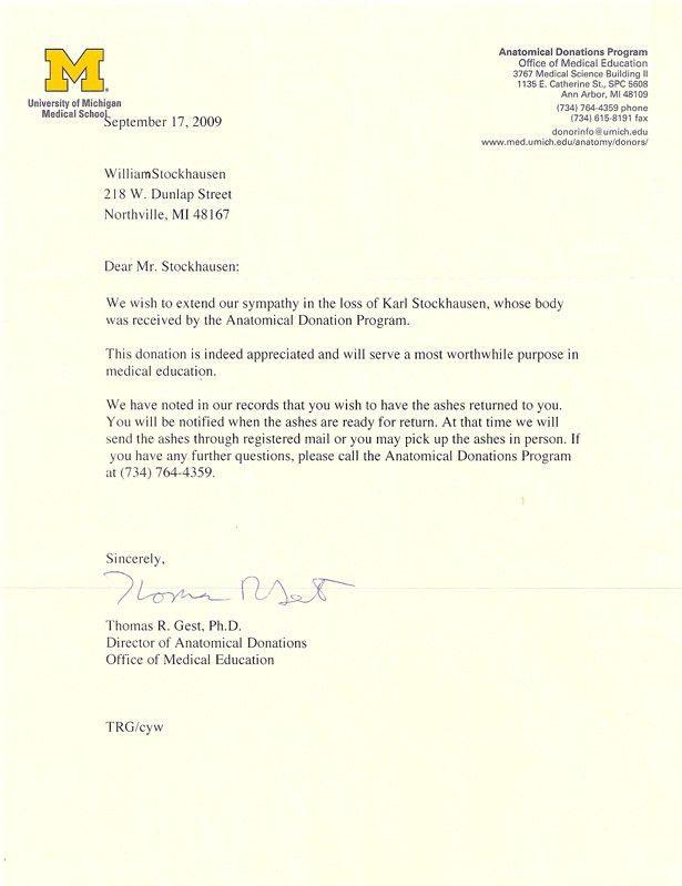 Dr. Karl Stockhausen – Donation Letters