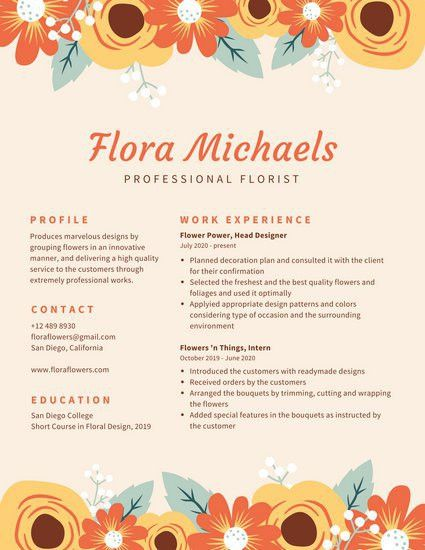 Cream with Floral Border Creative Resume - Templates by Canva