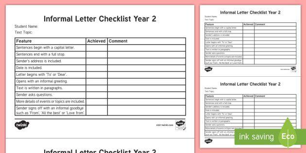 Year 2 Informal Letter Checklist - English curriculum, writing