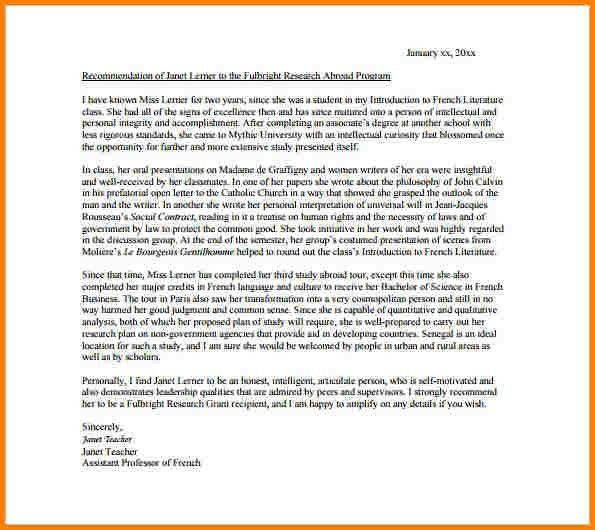 6+ sample recommendation letter for student scholarship | quote ...