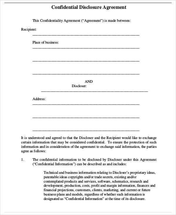 Business Confidentiality Agreement Sample. Non Disclosure .